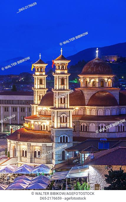 Albania, Korca, the Orthodox Cathedral, elevated view along the Boulevard Republika, dusk