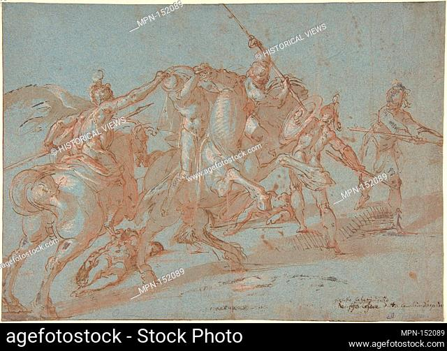 Classical Battle Scene; Verso: Peter and John Heal a Cripple at the Gate of the Temple. Artist: Bartholomeus Spranger (Netherlandish