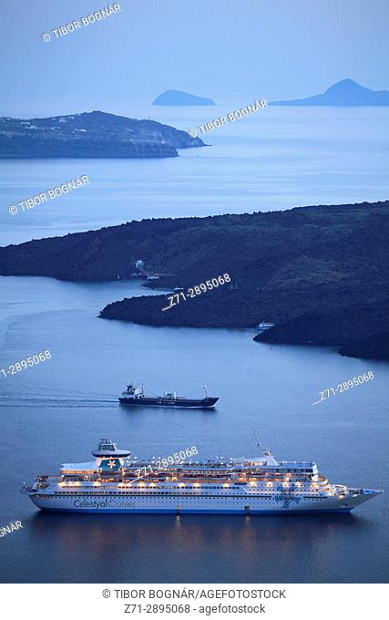 Greece, Cyclades, Santorini, cruise ship, sunset, Nea Kameni island,