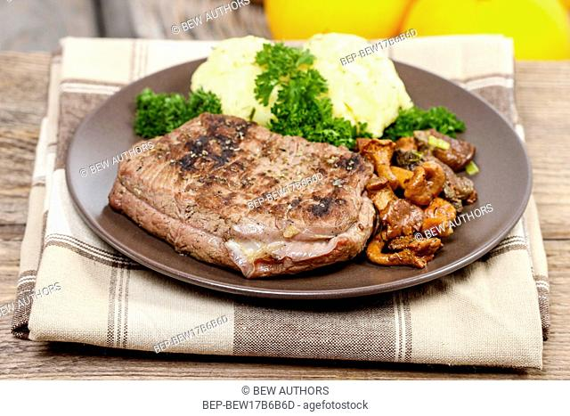 Roasted beef with mushrooms