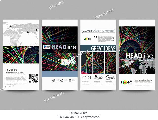 Flyers set, modern banners. Business templates. Cover design template, easy editable abstract vector layouts. Bright color lines, colorful beautiful background