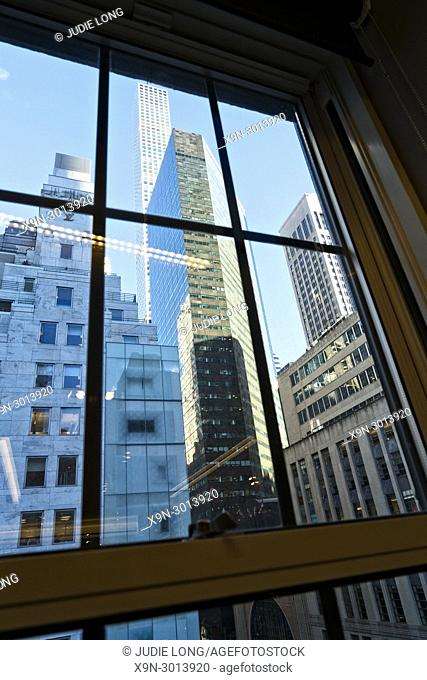 New York City, Manhattan. Looking at the Midtown Skyline through a Seventh Floor Window