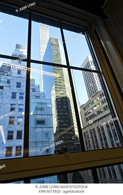 New York City, Manhattan. Looking at the Midtown Skyline through a Seventh Floor Window