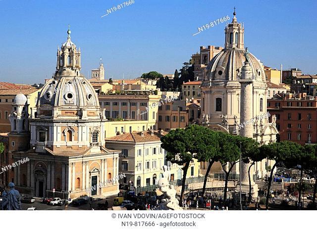 Churches of Santa Maria di Loreto (16th century) and Santissimo Nome di Maria (18th century), Rome, Italy