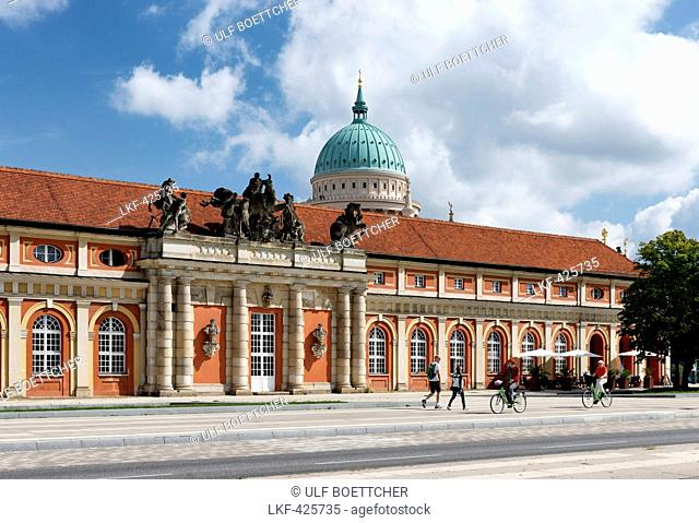 Film Museum with St. Nicholas' church, Nikolai Church, in the background, Potsdam, Land Brandenburg, Germany