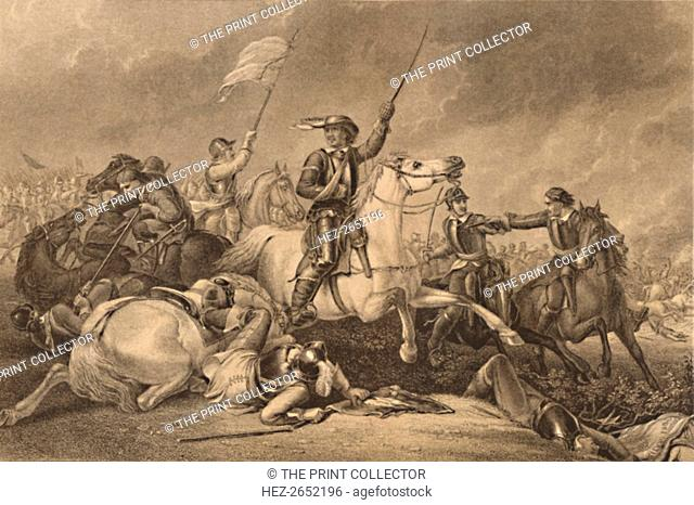 'Cromwell at the Battle of Marston Moor', 1886. Leading a Charge after Being Wounded in his Right Arm. Oliver Cromwell (1599-1658) commanded the forces of...