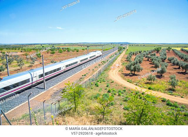 AVE high-speed train traveling along La Mancha. Malagon, Ciudad Real province, Castilla La Mancha, Spain