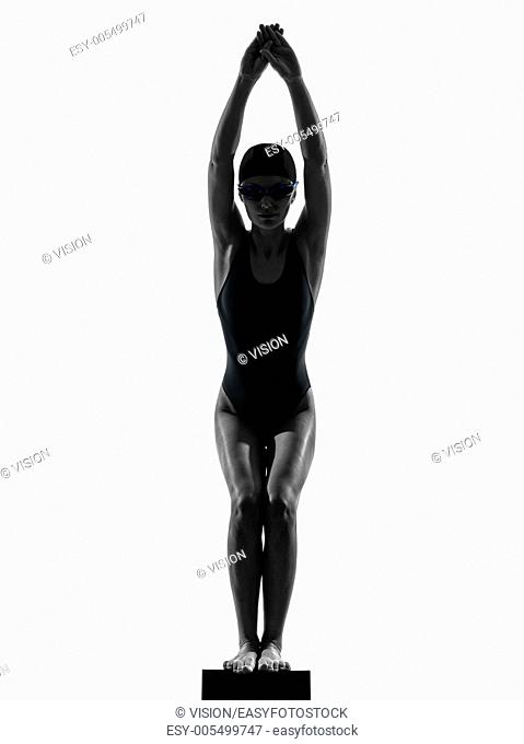 one caucasian woman competition swimmer in silhouette studio isolated on white background