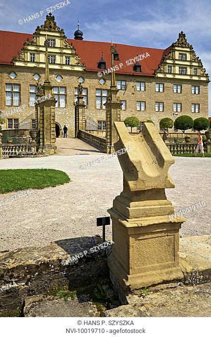 Sundial at Weikersheim Castle, Main-Tauber-District, Baden-Wuerttemberg, Germany