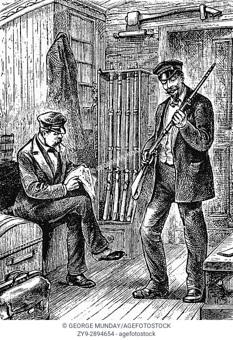 1879: The baggage master's armoury on the train to Atlanta, Georgia, United States of America