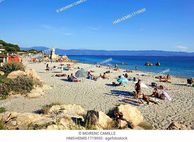 France, Corse du Sud, Gulf of Ajaccio, Ajaccio, Sanguinaires road, beach Vignola