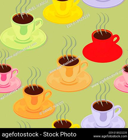 seamless pattern isolated espresso cups