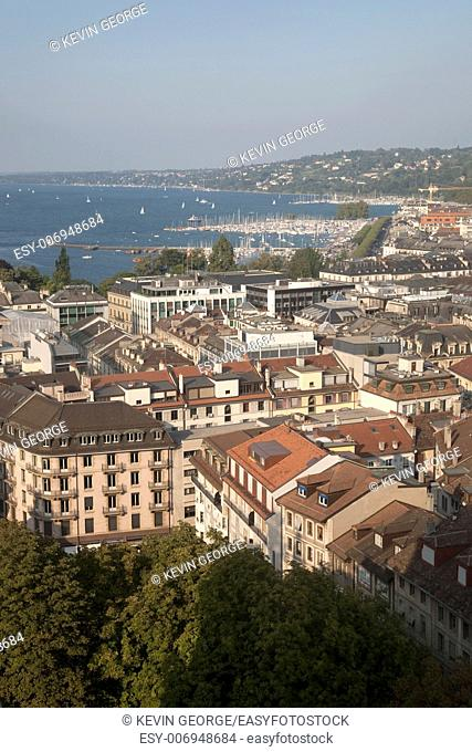 View of City and Lake Geneva, Switzerland