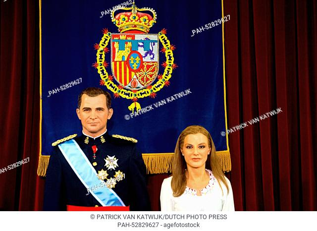 The wax figures of Spanish King Felipe and Queen Letizia seen in the Madrid Wax Museum in Madrid, Spain, 12 October 2014