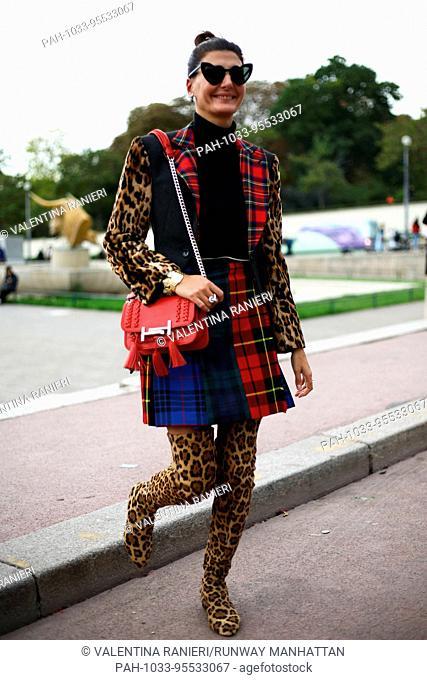 Giovanna Battaglia Engelbert, Senior Fashion Editor of Vogue Japan, posing outside of the Hermes runway show during Paris Fashion Week - Oct 2