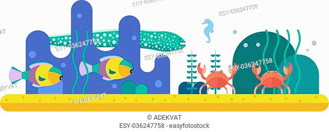 Underwater background with various water plant and swimming tropical fish. Underwater background with fish. Underwater background coral garden with glossy water...