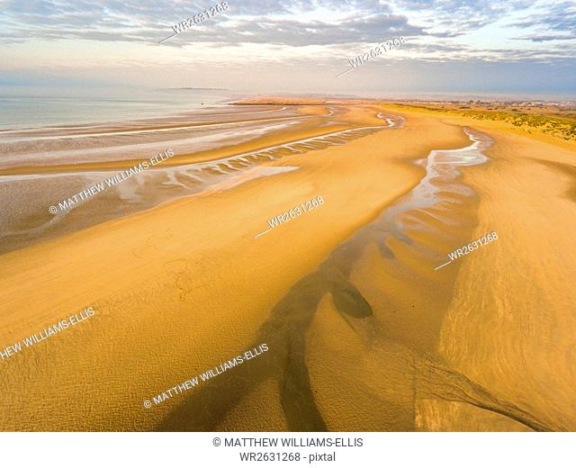 Camber Sands Beach at sunrise, Camber, near Rye, East Sussex, England, United Kingdom, Europe