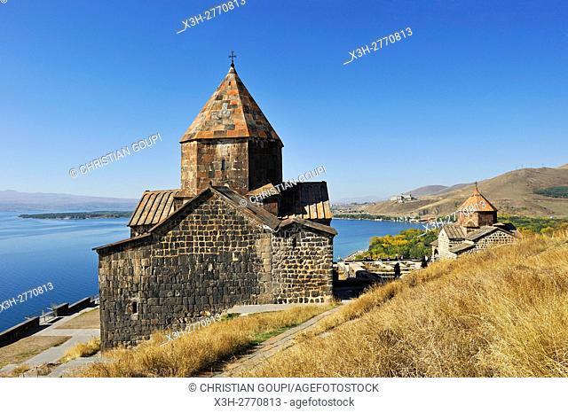 ''Holy Apostles'' church (Surp Arakelots), Sevanavank Monastery on Sevan Peninsula, Lake Sevan, Gegharkunik region, Armenia, Eurasia