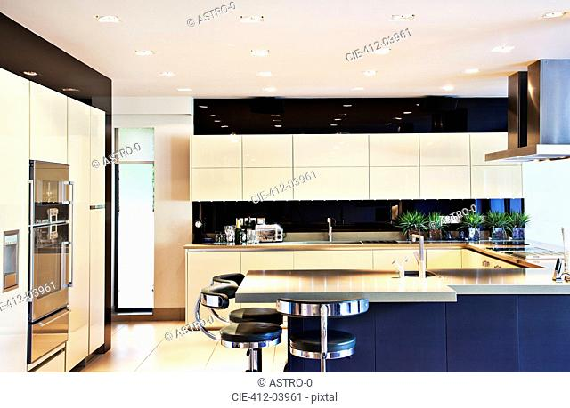Counters and table in modern kitchen