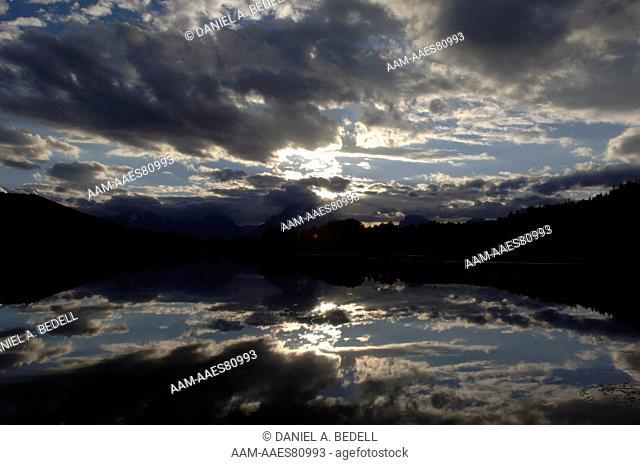 Clouds, Sky & Mount Moran Reflection, Oxbow Bend of Snake River, Grand Tetons NP, WY September digital capture