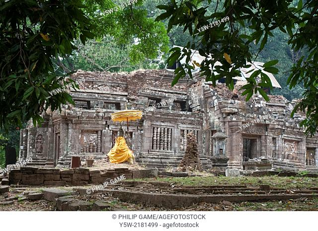Ancient Khmer and pre-Khmer temple ruins at Wat Phou, beside the Mekong in southern Laos