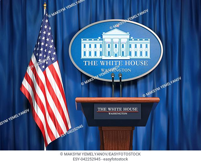 Politics of White House and President of USA United states concept. Podium speaker tribune with USA flags and sign of White House. 3d illustration