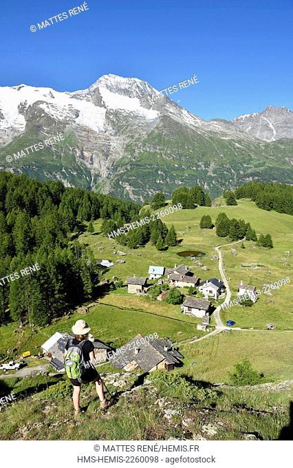 France, Savoie, La Lauziere Mountain, Celliers Glacier, Mont Blanc ...