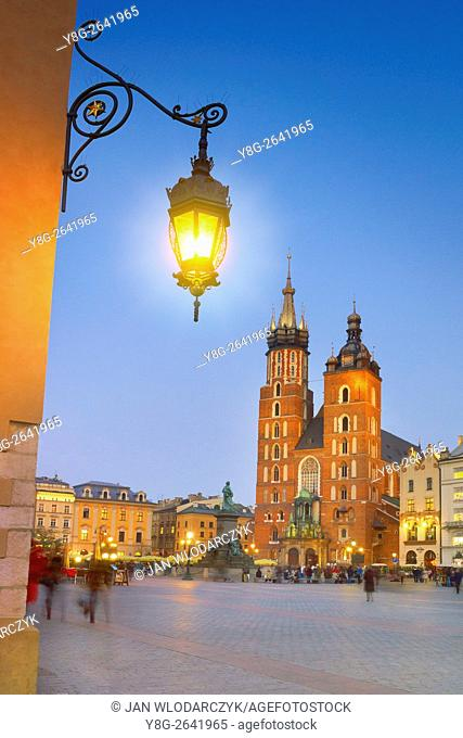 Cracow - St Mary's Church, Market Square, Poland
