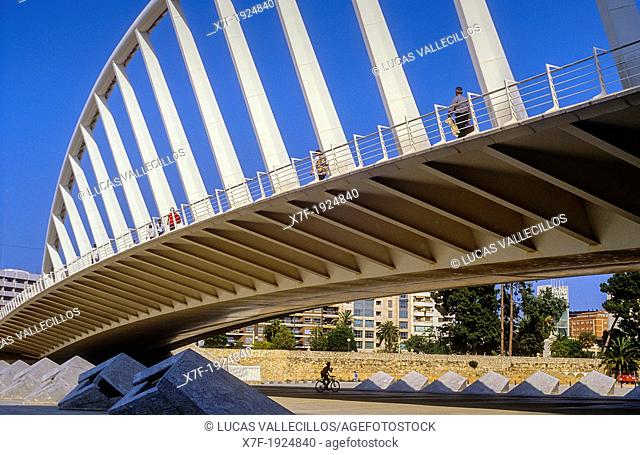 Exposure Bridge by Santiago Calatrava, in Jardi Garden del Turia,Valencia,Spain