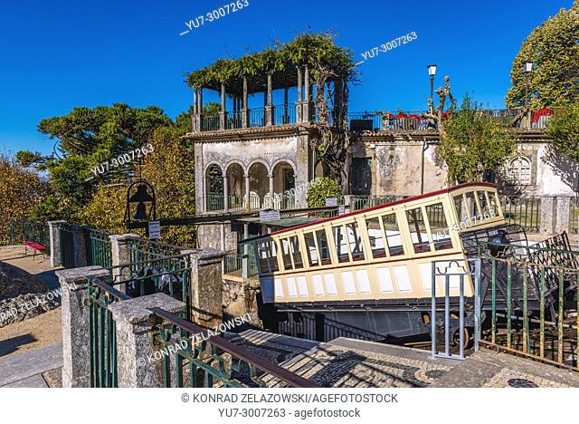 Moved by water counterbalancing funicular of Bom Jesus do Monte (Good Jesus of the Mount) sanctuary in Tenoes, outside the city of Braga, Portugal