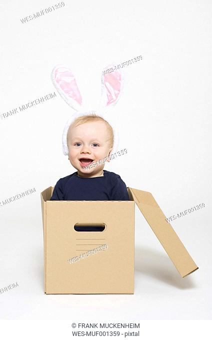 Portrait of baby boy wearing rabbit ears and sitting in box