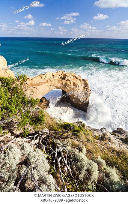 The Arch, Great Ocean Road, Australia, in stormy weather, breakers are coming in The Great Ocean Road is one of the most famous scenic roads worldwide It...