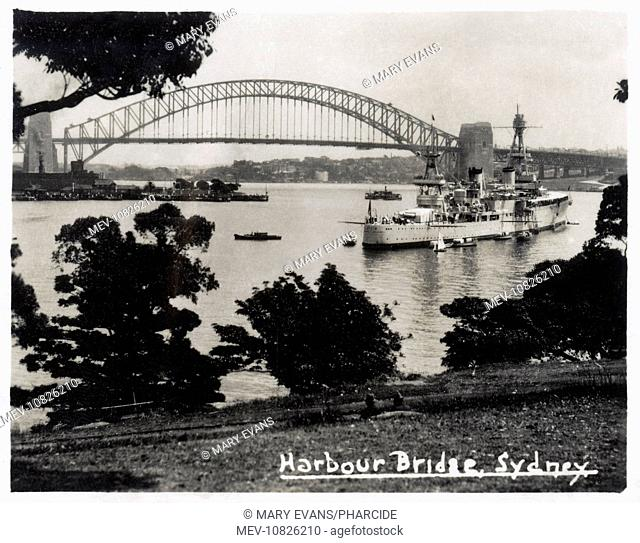 USS Augusta (CA31), American heavy cruiser, seen here in Sydney Harbour, Australia