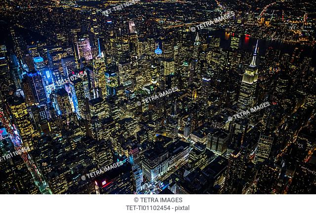 USA, New York, New York City, City lights at night