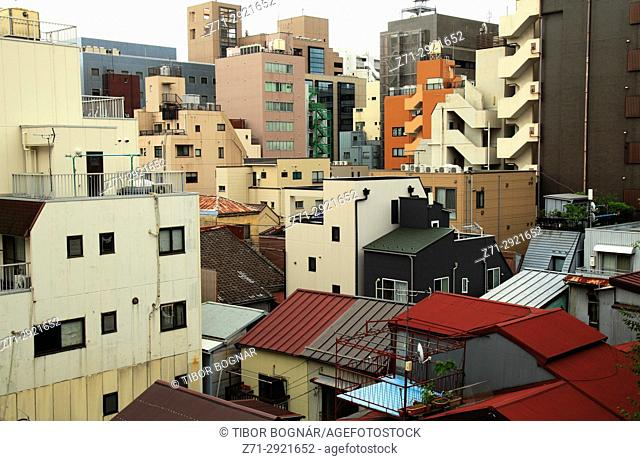 Japan, Tokyo, Asakusa, apartment buildings,
