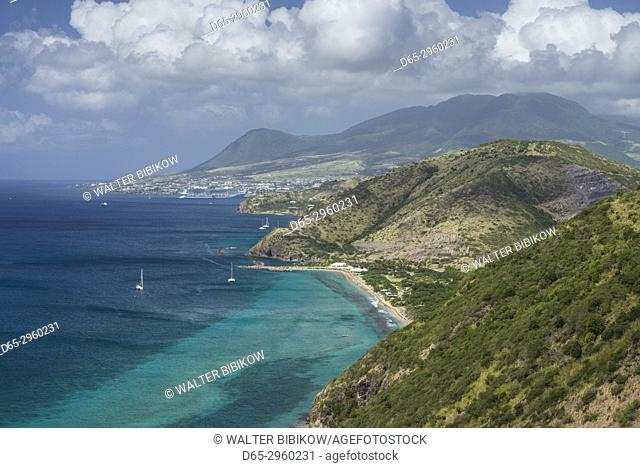 St. Kitts and Nevis, St. Kitts, South Peninsula, Friars Bay, elevated view