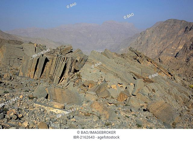 Landscape in the Jebel Harim region, in the Omani enclave of Musandam, Oman, Middle East, Asia