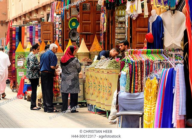 Morocco, Marrakesh, Medina, Souk, people in street market, Africa, African, Northern Africa, Maghreb