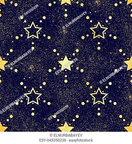 Gold star seamless pattern. Abstract dark modern seamless pattern with gold confetti stars. Shiny background. Texture of gold foil