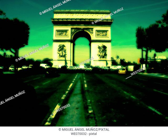 Arc de Triomphe (Arch of Triumph). Commissioned in 1806 by Emperor Napoleon I after the Victory of Austerlitz. Designed by Jean Chalgrin in 1806