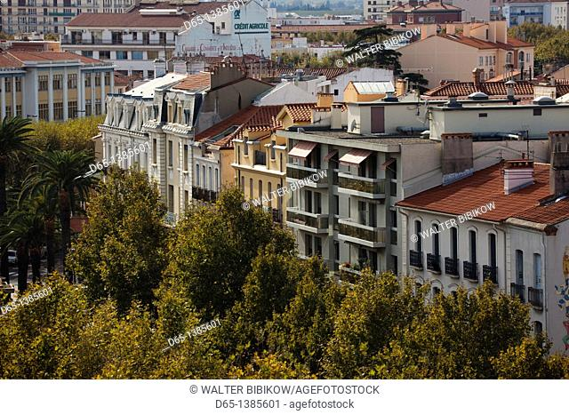 France, Languedoc-Roussillon, Pyrenees-Orientales Department, Perpignan, city overview from Le Castillet