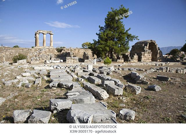 Europe, Greece, Peloponnese, ancient Corinth, archaeological site, view with the north east shops and the Temple of Apollo