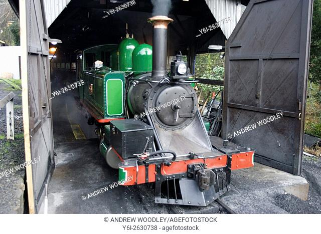 Locomotive in shed Puffing Billy historic steam railway Melbourne Australia