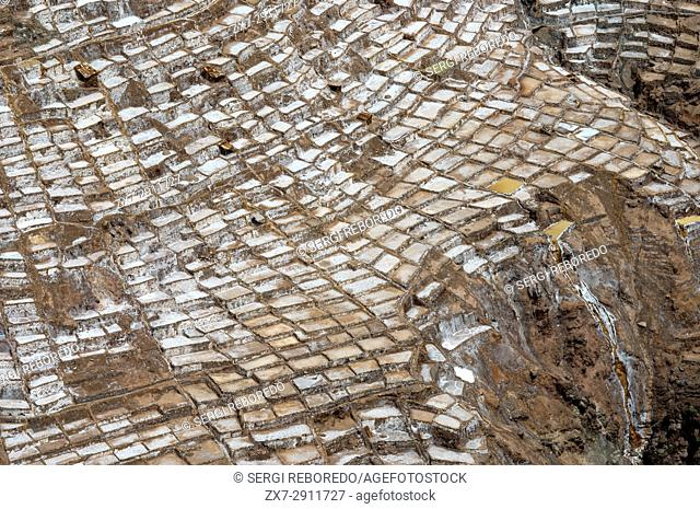 Maras's saltworks in the Sacred Valley near Cuzco. Maras is a town in the Sacred Valley of the Incas, 40 kilometers north of Cuzco, in the Cuzco Region of Peru