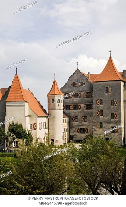 Harburg castle and gardens in late summer, Bavaria, Germany