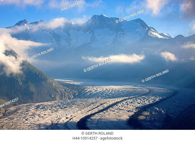 Aletsch glacier, Switzerland, Valais, UNESCO, world nature heritage, view point, mountains, glaciers, ice, moraines, clouds, morning light, nature