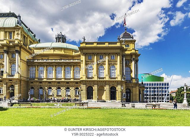 The building of the Croatian National Theater Zagreb is located on square of the Republic of Croatia in the city center of Zagreb