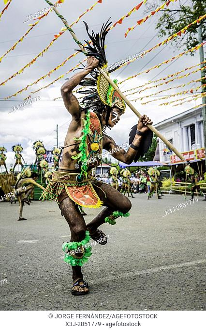 """Participants of the dance contest during the celebration of Dinagyang in homage to """"""""The Santo Niño"""""""", the patron saint of many Philippino cities"""