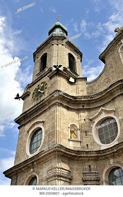 Tower of the St. James's Cathedral, Dom zu St. Jakob, historic district of Innsbruck, Tyrol, Austria, Europe