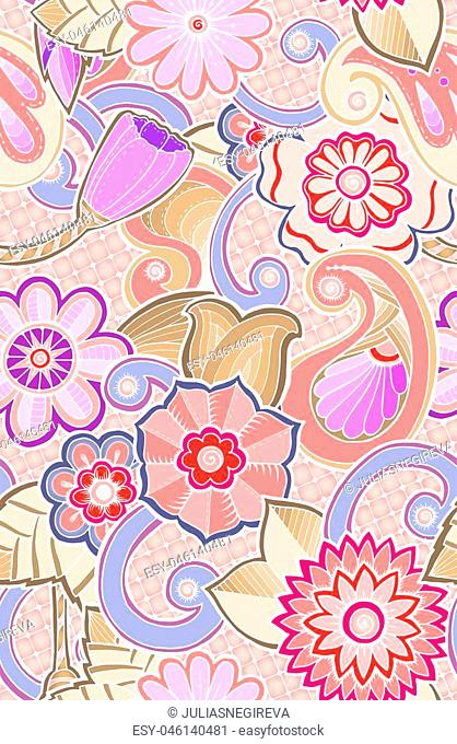 Seamless ornamental pattern with stylized tulip flowers and tribal paisley. Ethnic floral design template can be used for wallpaper, pattern fills, textile